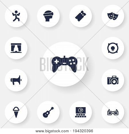 Set Of 13 Amusement Icons Set.Collection Of Spectacles, Pass, Curtain And Other Elements.