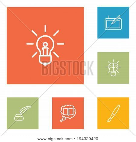Set Of 6 Creative Outline Icons Set.Collection Of Idea, Inkwell With Pen, Knowledge And Other Elements.