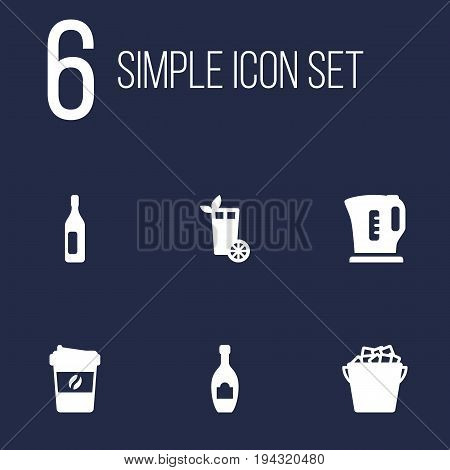 Set Of 6 Beverages Icons Set.Collection Of Espresso, Wine, Fridge And Other Elements.