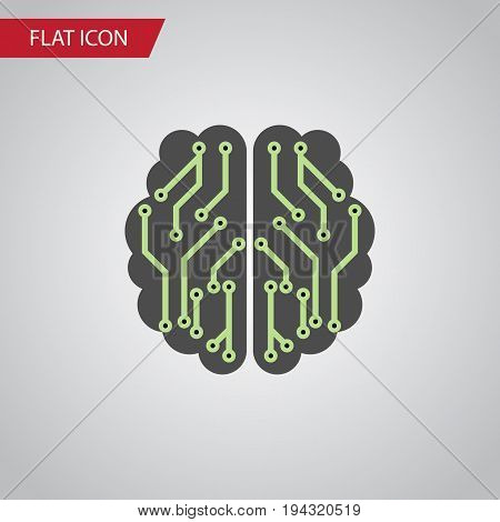 Isolated Imagination Flat Icon. Brain Vector Element Can Be Used For Brain, Imagination, Mentality Design Concept.