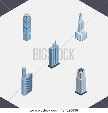 Isometric Skyscraper Set Of Apartment, Building, Cityscape And Other Vector Objects. Also Includes Exterior, Cityscape, Building Elements.