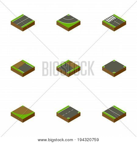 Isometric Road Set Of Turn, Plane, Incomplete And Other Vector Objects. Also Includes Down, Unfinished, Crossroad Elements.