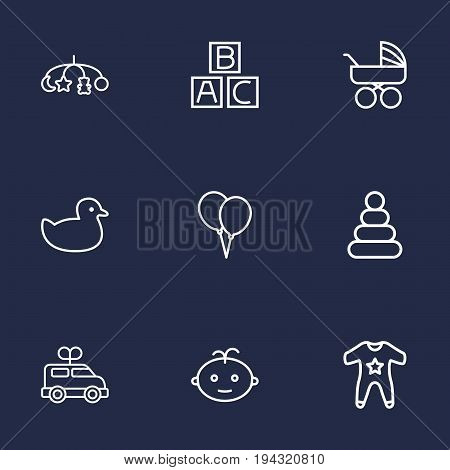 Set Of 9 Child Outline Icons Set.Collection Of Boy, Alphabet Cubes, Smock And Other Elements.