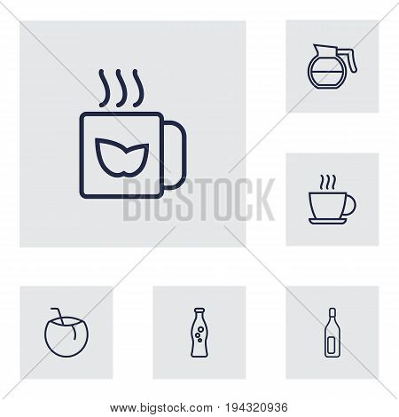Set Of 6 Beverages Outline Icons Set.Collection Of Soda, Hot Drink, Coffeepot And Other Elements.