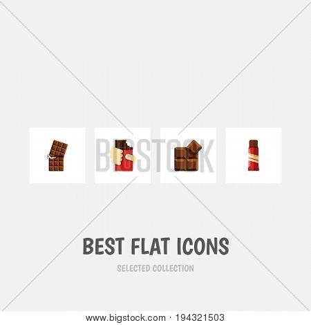 Flat Icon Sweet Set Of Shaped Box, Wrapper, Cocoa And Other Vector Objects. Also Includes Wrapper, Delicious, Confection Elements.