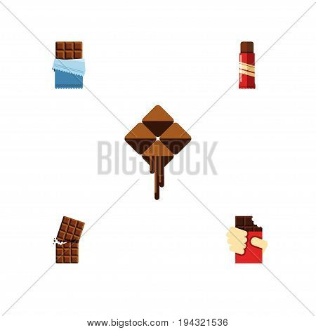 Flat Icon Sweet Set Of Wrapper, Shaped Box, Bitter And Other Vector Objects. Also Includes Cocoa, Bitter, Delicious Elements.