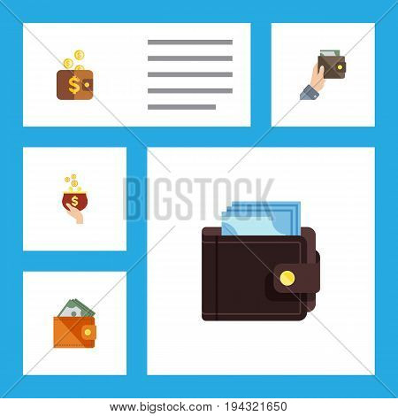 Flat Icon Purse Set Of Currency, Wallet, Payment And Other Vector Objects. Also Includes Wallet, Money, Purse Elements.