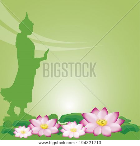 Buddha statue and lotus of Thai tradition, Visakha Puja Day, vector illustration.
