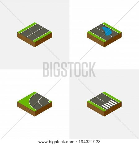 Isometric Road Set Of Pedestrian, Plash, Plane And Other Vector Objects. Also Includes Plash, Pedestrian, Puddle Elements.