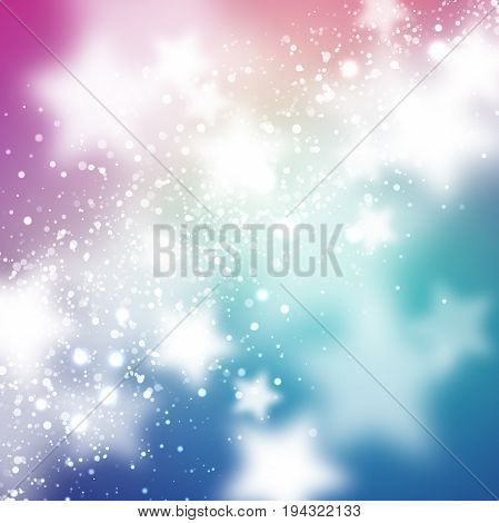 Starry background. Smooth and blured stars on blue and magenta background. Space cartoon background