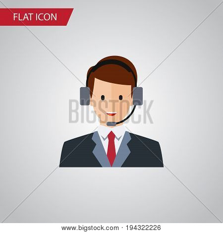 Isolated Secretary Flat Icon. Hotline Vector Element Can Be Used For Secretary, Hotline, Human Design Concept.