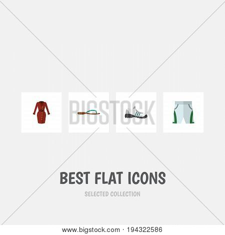 Flat Icon Clothes Set Of Sneakers, Trunks Cloth, Clothes And Other Vector Objects. Also Includes Flop, Dress, Clothes Elements.