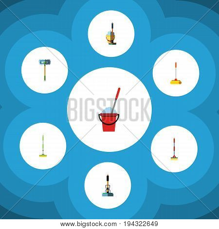 Flat Icon Cleaner Set Of Bucket, Besom, Equipment And Other Vector Objects. Also Includes Broomstick, Sweep, Cleaner Elements.