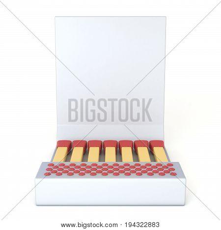 White Cardboard Matcbook Front View 3D