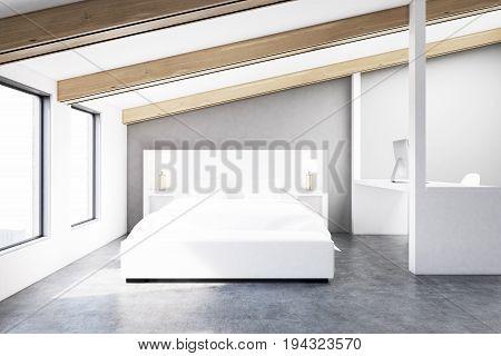Gray Attic Bedroom, Concrete Floor