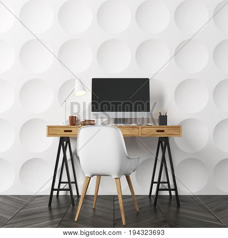 Empty room interior with white circle pattern walls and a dark wooden floor. There is a wooden computer desk and a white chair. Concept of a new and comfortable lodging. 3d rendering mock up