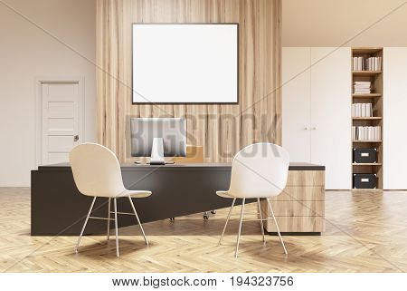 White and wooden office interior with a bookcase a closet a door a round table with brown chairs and a horizontal framed poster on a wall. 3d rendering mock up