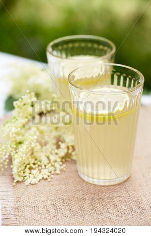 Close Up Glasses Of Elderflower Lemonade