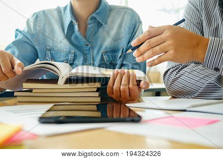 Education Concept. Students Studying And Brainstorming Campus Concept. Close Up Of Students Discussi