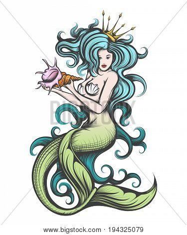 Beauty blue haired siren mermaid with golden crown with seashell in her hands. Colorful Vector illustration in tattoo style.