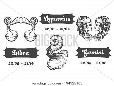 Set of Air Zodiac signs. Libra Aquarius and Gemini drawn in engraving style. Vector illustration.
