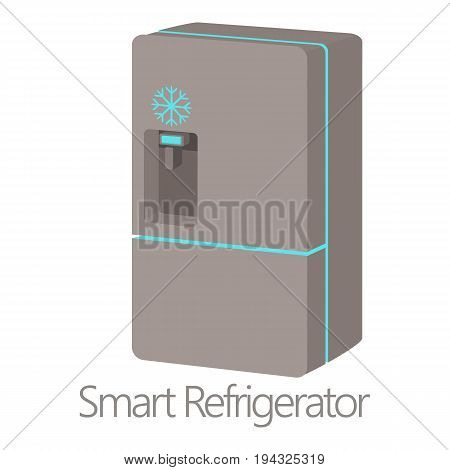 Smart refrigerator icon. Cartoon illustration of smart refrigerator vector icon for web isolated on white background
