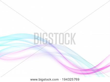 Futuristic swoosh fusion hi-tech wave lines layout. Bright elegant abstract blue and pink transparent smoke waves over white background. Vector illustration