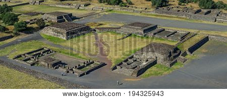 Ancient ruins in Teotihuacan Mexico, panoramic view