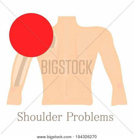 Shoulder problem icon. Cartoon illustration of shoulder problem vector icon for web isolated on white background