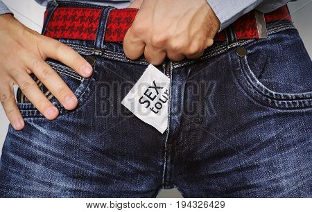 Condom In Jeans Zipper.