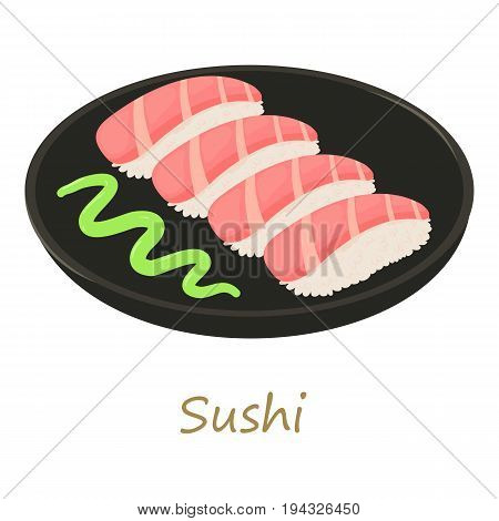 Sushi icon. Cartoon illustration of sushi vector icon for web isolated on white background