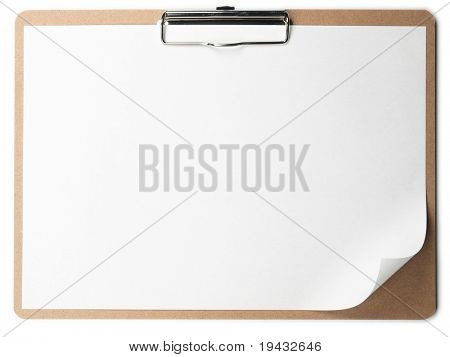 Horizontal clipboard with blank paper and curled corner.
