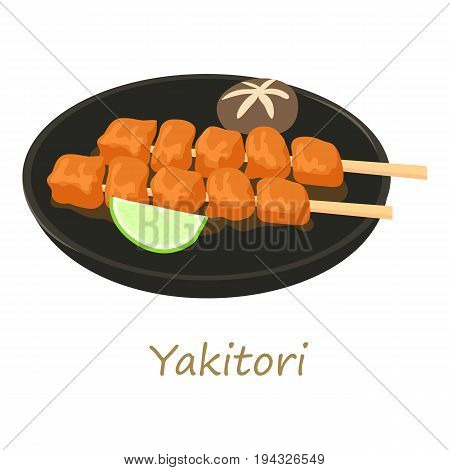 Yakitori icon. Cartoon illustration of yakitori vector icon for web isolated on white background