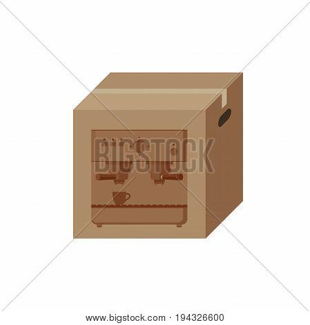 Cardboard box with print of coffee machine.