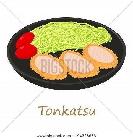 Tonkatsu icon. Cartoon illustration of tonkatsu vector icon for web isolated on white background