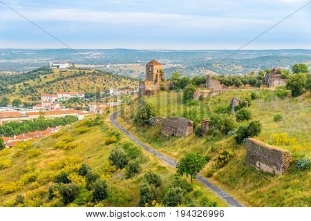 View at the ruins od wall Montemor-o-Novo castle in Portugal