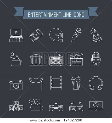 Set of 20 entertainment line icons vector eps10 illustration