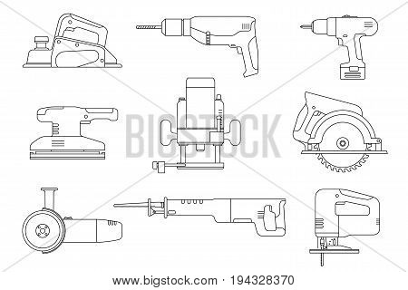 Electric tools line icons set. Vector thin illustrations of saws, drill, planer, grinders, screwdriver.