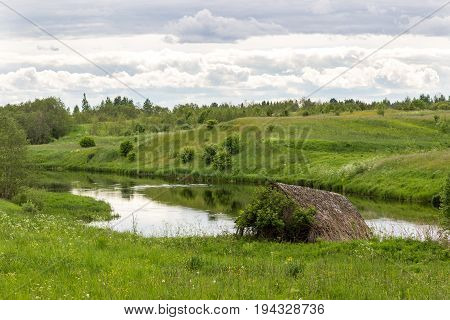River Msta on a summer day. Russia.