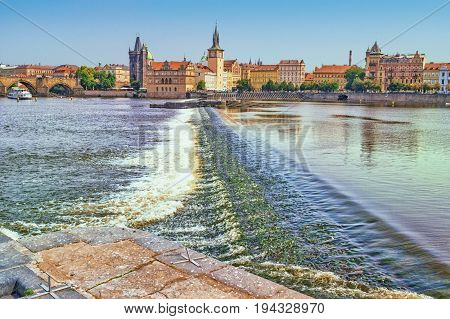 Prague, Czech Republic. Spillway on Vltava River
