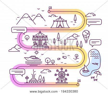 Vector Illustration Of City Amusement Park For Children Navigation With Speech Bubble. Infographic R