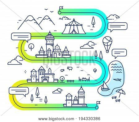 Vector Illustration Of City Navigation With Air Balloon And Clouds. Infographic Route Concept.