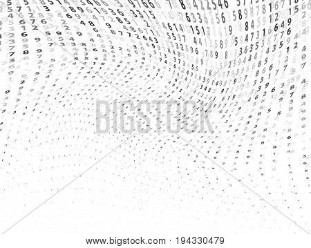 Vector Illustration of abstract big data numeric business background. Computer code, coding concept. Analysis info. Techno backdrop in black color isolated on white