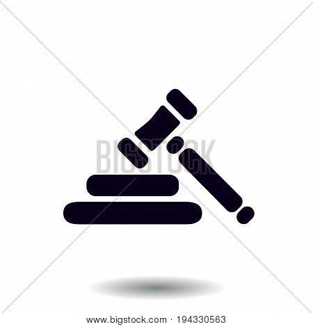 Auction hammer pictogram. Law judge gavel icon. Flat design style.