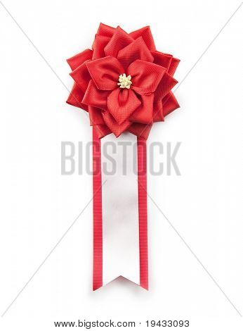 Red prize ribbon, isolated on white.