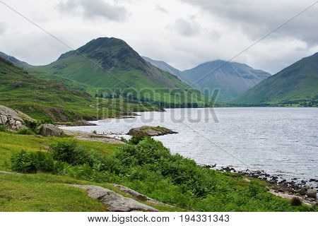 Wast Water lake, view from the side of the road, Lake District National Park, England, selective focus
