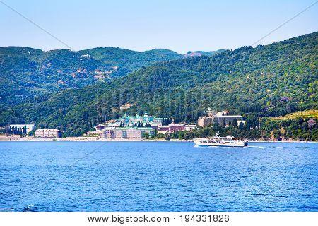 Russian St. Panteleimon's Orthodox monastery at Mount Athos, Agion Oros, Holy Mountain, Halkidiki , Greece and the ship near it