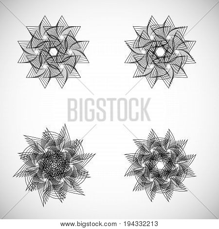 Set of spirograph elements. Collection of abstract shapes for design. Vector spirograph multipurpose elements