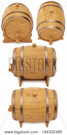 Wooden barrel, cask or tun. 3D illustration isolated on a white background.