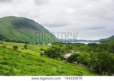 View of Wast Water, on the way to Scafell pike, the highest mountain in England, Lake District National Park, England, selective focus